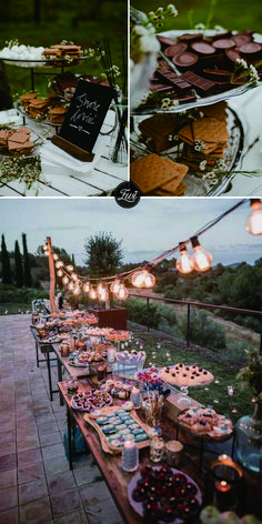 Rustic fall wedding smores bars with cookie and chocolate wedding reception food ideas Wedding Food Bars, Outdoor Wedding Reception, Fall Wedding Foods, Fall Wedding Desserts, Outdoor Wedding Foods, Rustic Wedding Foods, Small Wedding Receptions, Fall Wedding Arches, Thanksgiving Wedding