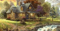 THOMAS KINKADE. I really don't want a mansion in the hereafter. This cute little cabin will do. :} | Pinterest | Cabin, Logs and Mansions
