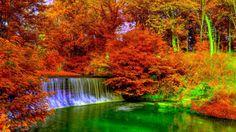 Waterfall Autumn HD desktop wallpaper High Definition