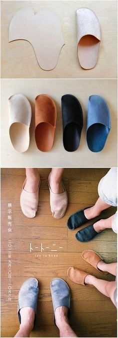 How to DIY Simple Pattern Home Slippers - diy clothes Recycling Ideen Sewing Hacks, Sewing Crafts, Sewing Projects, Diy Projects, Sewing Clothes, Diy Clothes, Diy Vetement, Shoe Pattern, Leather Projects