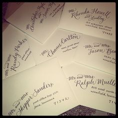 ~I <3 the eloquent lettering gracefully & attractively written onto these envelopes!!  Talented!