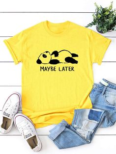 Casual Letter and Cartoon Regular Fit Round Neck Short Sleeve Pullovers Yellow Regular Length Panda & Letter Print Tee Chemise Fashion, Latest T Shirt, Casual, T Shirts For Women, Clothes For Women, Printed Tees, Sports Shirts, Direct To Garment Printer, Pulls