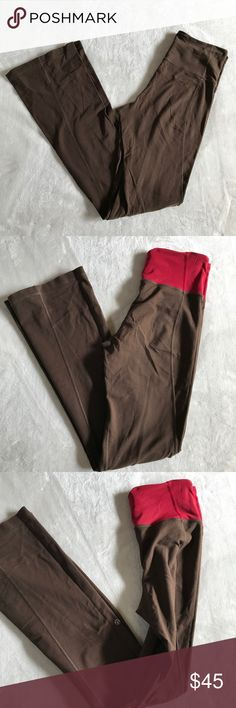 lululemon reversible brown yoga pants Boot cute/flare reversible yoga pants! Probably a vintage style since I can't seem to did any online. Red mesh waistband that looks so cool in contrast with the brown. Can get them hemmed for free at lululemon. Has lululemon logo on both sides. No size dot but I'd say fits an 8 best. lululemon athletica Pants Leggings