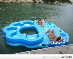 This would be fun to use for a group wanting to float the river!! This would also be perfect for my family while we relax in the river. Would fit all of us.