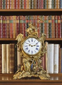 Anglesey Abbey Regency rococo revival mantle clock by James McCabe in the Library. ©National Trust Images/John Hammond