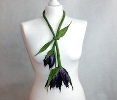 Felted Flower Necklace Felted collar purple green by EsartFelt