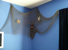 Eleanor Olander: This is me.: Boy's Pottery Barn Nautical Themed Bedroom on a Budget Nautical Bedroom, Guest Bedroom Decor, Nautical Theme, Bedroom Ideas, Sea Theme Bedrooms, Girls Bedroom, Fish Net Decor, Blue Rooms, Fashion Room