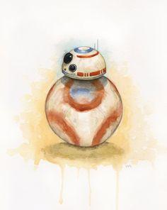 Giclée Art Print of Star Wars Watercolor Painting Star Wars Fan Art, Star Wars Bb8, Star Wars Love, Star Wars Droids, Starwars, Star Wars Tattoo, Star Wars Episodes, Illustration, Watercolor Paintings