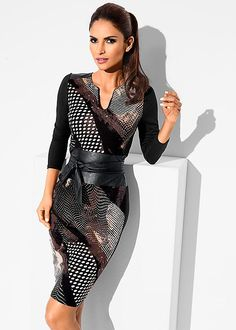 Present your meetings in prints. Venus faux leather waisted dress.