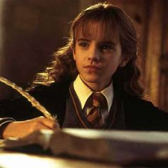 Hermione Granger with a Book and Feather