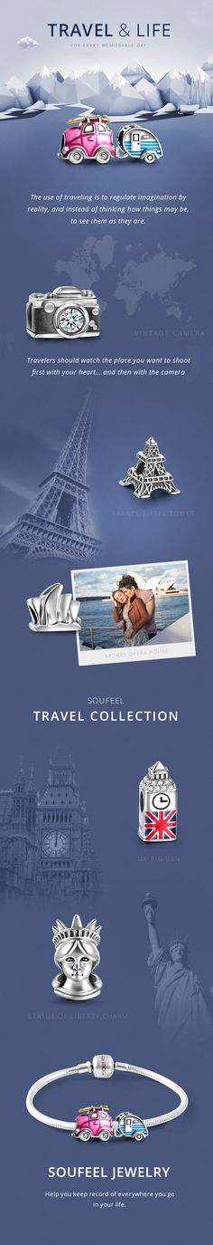 SOUFEEL Charms, Each charm is a musical note comes from your heart. Travel is wonderful as it is better to travel ten thousand miles than to read ten thousand books. Just get rid of everything, drive a car, take a camera, and travel to a great place with her, wherever and whenever.