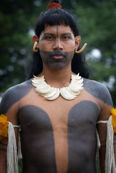 Brazil ~ Umutina Warrior ~ The Umuntinas are an indigenous group inhabiting the right bank of the Paraguay River, in the state of Mato Grosso