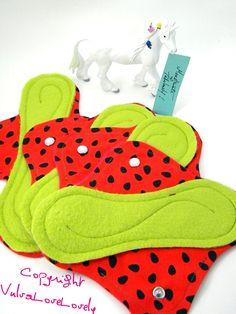 Cloth Menstrual Pads- Reusable Leakproof Set of 4  regular to heavy flow pads. $64,00, via Etsy.