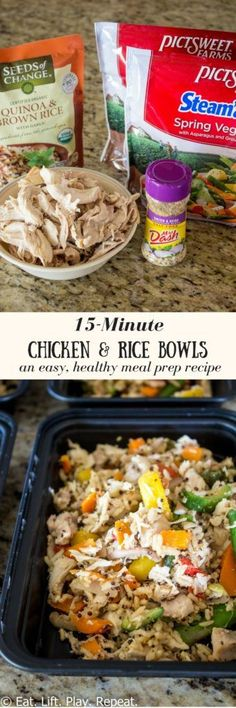 15-Minute Meal Prep Chicken & Rice Bowls work great for weekends with no time. Get lunch or dinner prepared during meal prep in just a few minutes! These healthy chicken and rice bowls are full of protein, complex carbs and veggies! Click through to see the full recipe for this healthy lunch.