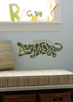 Cutest little #alligator for your #nursery or #playroom! #uppercaseliving #vinyl #decor8life