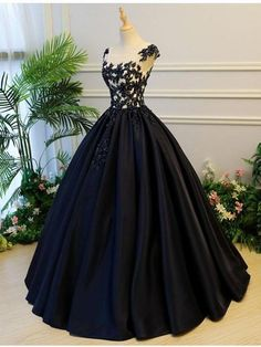 fce42973a43 A-line Scoop-Neck Floor-Length Satin Long Black Prom Dresses HX00111