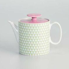porcelain teapot - prism green/pink