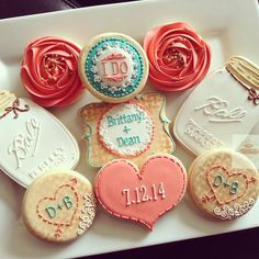 2 dozen vintage country chic bridal shower cookies in coral and teal burlap mason