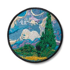 Get inspired to customize your denim jacket or other accessories with art patches featuring works from The Met. This Van Gogh Cypresses Patch celebrates an icon of Impressionist painting. Hat Patches, Pin And Patches, Iron On Patches, Sewing Patches, Embroidery Patches, Embroidery Art, Embroidered Patch, Impressionist Paintings, Landscape Paintings