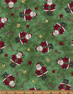Santa and Candy Canes on Green Background- Just Be Claus - Maywood Studios- 100% Cotton High Quality Quilting Fabric by QuiltsOnTheFly on Etsy