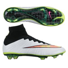 Nike Mercurial SuperFly IV FG Soccer Cleats (White/Black/Hyper Pink/Volt). Get your new pair of soccer boots today at SoccerCorner.com!