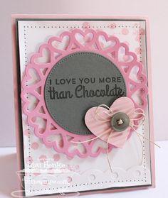 Chocolate Sentiments; Distressed Background Blocks; Blueprints 3 Die-namics; Heart STAX Die-namics; Dotted Scallop Border Trio Die-namics; Hearty Doily Die-namics - Lisa Henke