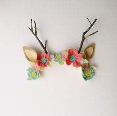 Little Fawn Deer Forest wool felt antler Flower crown Felt Flowers, Fabric Flowers, Butterfly Felt, Felt Crafts, Diy Crafts, Felt Hair Accessories, Felt Headband, Headbands, Felt Crown