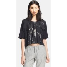 Women's rag & bone/JEAN 'Noah' Graphic Oversized Crop Tee (70 AUD) ❤ liked on Polyvore featuring tops, t-shirts, cotton tee, graphic tees, black crop top, black tee and metallic crop top