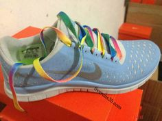 Womens Nike Free 3.0 V4 Prism Blue Reflective Silver Sail Rainbow Lace Shoes