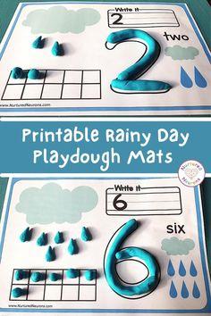 Printable Raindrop Counting Playdough Mats - Nurtured Neurons