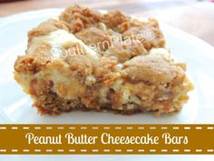 Peanut Butter Cheesecake Cookie Bars - I could make my own GF peanut butter cookie dough and this would be a yummy gluten free dessert!!!  I'm excited to try this one!!!