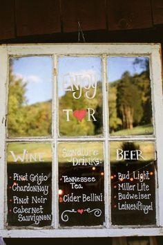 old windows in weddings | Bar menu on an old window frame For a rustic wedding | Wedding Ideas