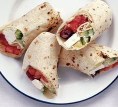 Great vegetarian wraps for on-the-go summer lunches and suppers. Put out the ingredients and people can make their own for a hands-on family supper.