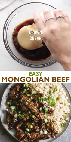 healthy dinner recipes videos This easy Mongolian Beef recipe is better than take-out and can be made in just 30 minutes! Tender beef and fresh green onions in an amazing garlic and ginger asian sauce, served over hot cooked rice. Easy Mongolian Beef, Mongolian Beef Recipes, Mongolian Sauce Recipe, Meat Recipes, Crockpot Recipes, Cooking Recipes, Recipes With Beef Tips, Cooking Ideas, Cooking Tips