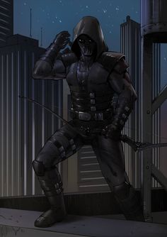 Black Raven by KaRolding on DeviantArt Archer Characters, Superhero Characters, Fantasy Characters, Armor Concept, Concept Art, Character Concept, Character Art, Hq Dc, Ninja Art