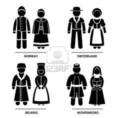 Europe - Norway Switzerland Belarus Montenegro Man Woman People National Traditional Costume Dress Clothing Icon Symbol Sign Pictogram Stock...