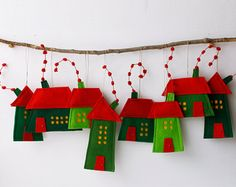 Christmas House ornament Group of eight Felt Houses decoration for hanging Wall Art Red Green Christmas colors Christmas ornaments