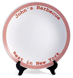 Personalized Red Gingham Platter
