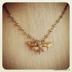 Vintage Repurposed  Butterfly Necklace  Rhinestone by WinterPearls, $40.00