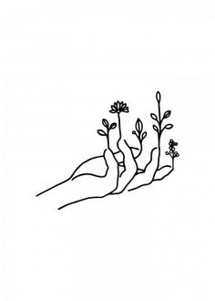 nature drawings Bloom hand by Nin Hol Outline Art, Outline Drawings, Art Drawings Sketches, Doodle Drawings, Doodle Art, Hand Outline, White Board Drawings, Nature Sketches Pencil, Tattoo Outline Drawing