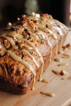 Caramel Glazed Apple Bread Bread: ■1 1/2 cups shredded apples ■1 cup brown sugar ■1/2 cup buttermilk ■1/2 cup vegetable oil ■4 eggs ■3 cups flour ■1/2 cup pecans ■2 tsp baking soda ■2 tsp cinnamon ■1tsp salt ■1 tsp nutmeg Glaze: ■2 tb butter or margar ■1/4 cup brown sugar ■1 tb milk ■1/2 cup powdered sugar Heat oven to 350°F. Grease bottoms only of 2 (8×4-inch) loaf pans Bake 45 to 55 minutes
