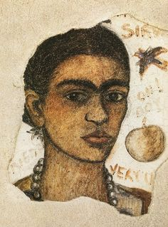 Frida Kahlo's self-portrait | Fresco over masonite, 1933