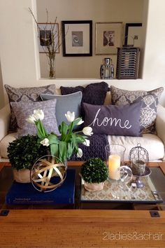2 Ladies Spring Home Tour: Joan's Home So many wonderful decor items at HomeGoods! You can really make home yours! All these fabulous accessories have made my house my home. Sponsored by HomeGoods Living Room On A Budget, Small Living Rooms, Home And Living, Living Room Designs, Living Area, Living Room Decor Purple, Purple Home Decor, Spring Home, My New Room