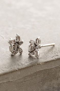 Diamond Cluster Earrings in 18k White Gold - anthropologie.com