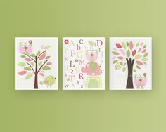 Baby Girl Room Ideas: Nursery wall Art Print For Girls, Baby Girl Room Decor / Love Bird Turtle Elephant // Set of 3 11x14 // Hayley Bedding. $70.00, via Etsy.