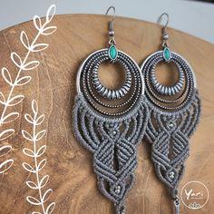 Boho Macramee Earrings in Grey in Grey and Silver from YariMakramee Crochet Earrings, Drop Earrings, Etsy, Silver, Jewelry, Boho Earrings, Handcrafted Gifts, Threading, Handmade