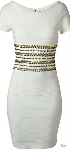 Herve Leger ● White Metallic Bead Embellished Bandage Dress