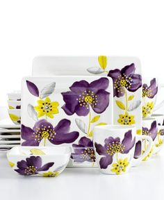 Laurie Gates Dinnerware, Anna Lily 16 Piece Set - I want this set so bad, and it isn't available anymore. I'm so sad! Coffee Cup Crafts, Purple Plates, Vase Deco, Pottery Painting Designs, Ceramic Painting, Ceramic Art, Dinnerware Sets, Hand Painted Ceramics, Vases