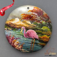 HAND PAINTED CRANE BIRD MOTHER OF PEARL SHELL NECKLACE PENDANT ZL30 06216 #ZL #PENDANT
