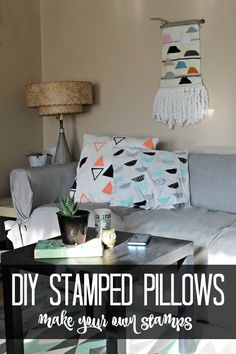 DIY custom printed throw pillows make your own fabric print stamps Make Your Own Stamp, Floor Pillows, Throw Pillows, Funny Pillows, Do It Yourself Projects, Vintage Patterns, Modern Living, Printing On Fabric, Scandinavian